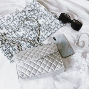 Rebecca minkoff quilted silver chain bag
